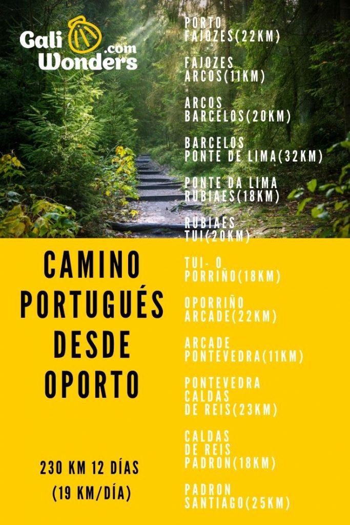 itinerario del camino portugues desde oporto
