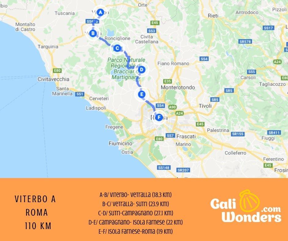 ROMA VÍA FRANCIGENA MAPA GALIWONDERS