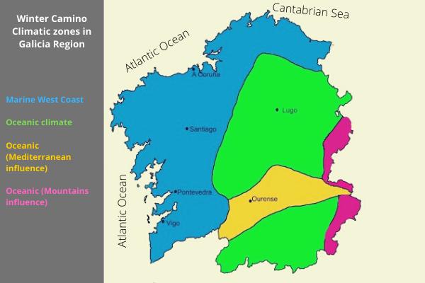 Climatic zones Winter Way Galicia
