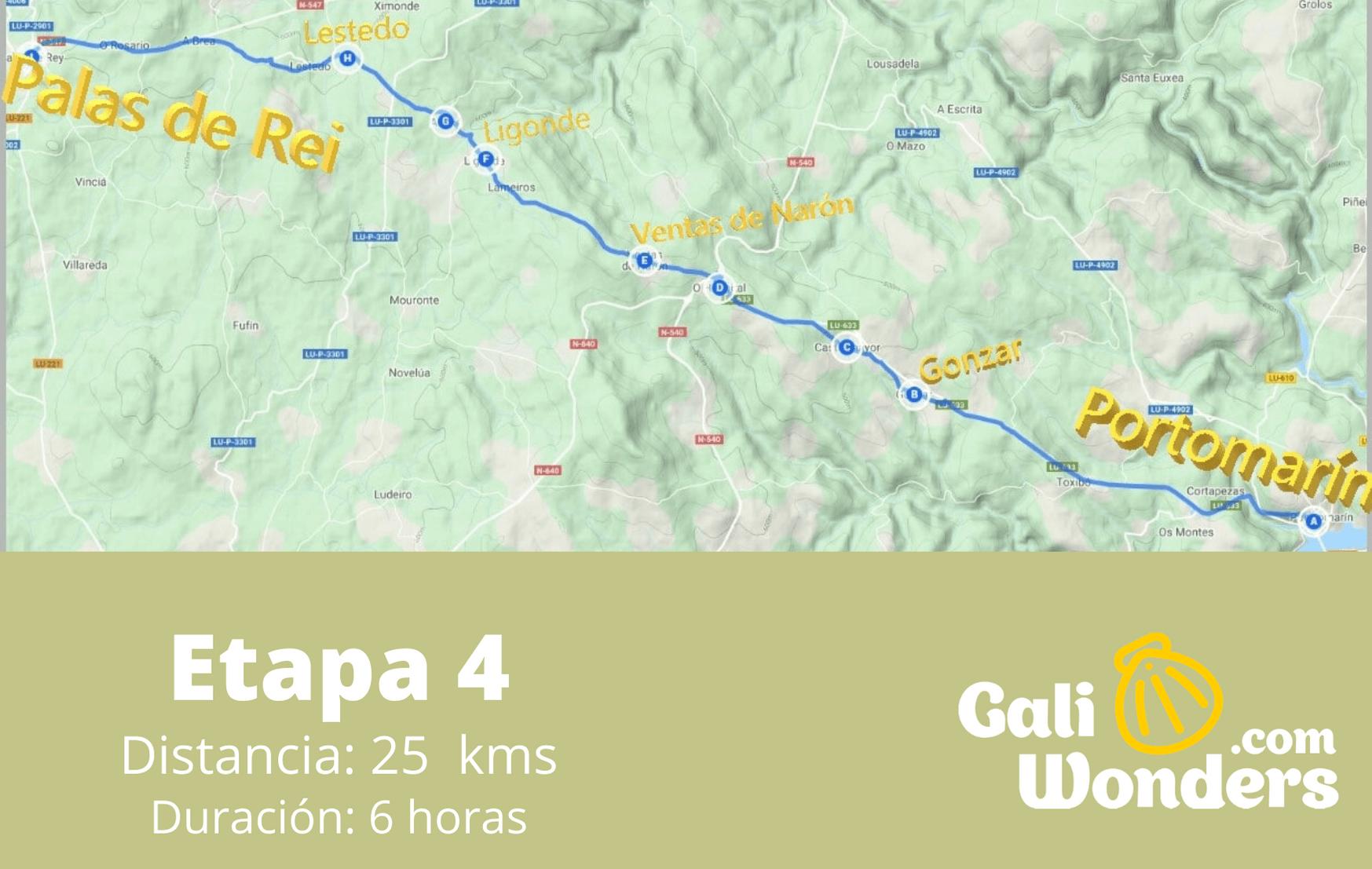 Etapa 4 Portomarin Palas de Rei Mapa 1