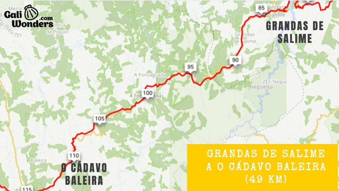 Mapa Camino Primitivo en bicicleta de Grandas de Salime a O Cadavo Baleira