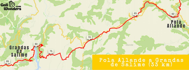 Mapa Camino Primitivo etapa de Pola Allande a Grandas de Salime