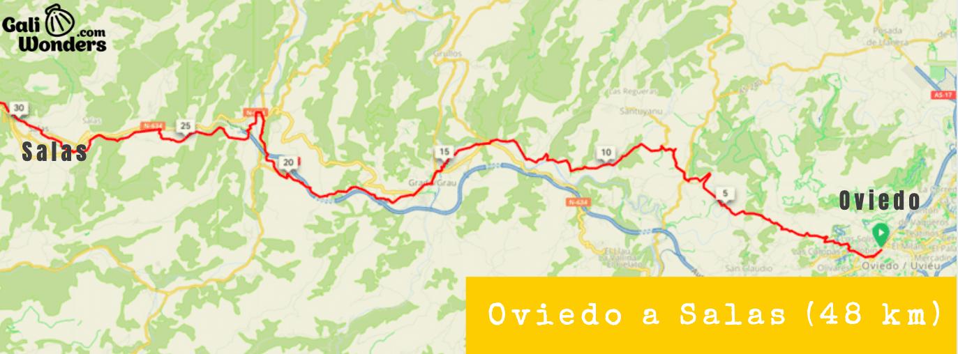 Mapa Oviedo a Salas Camino Primitivo en Bici