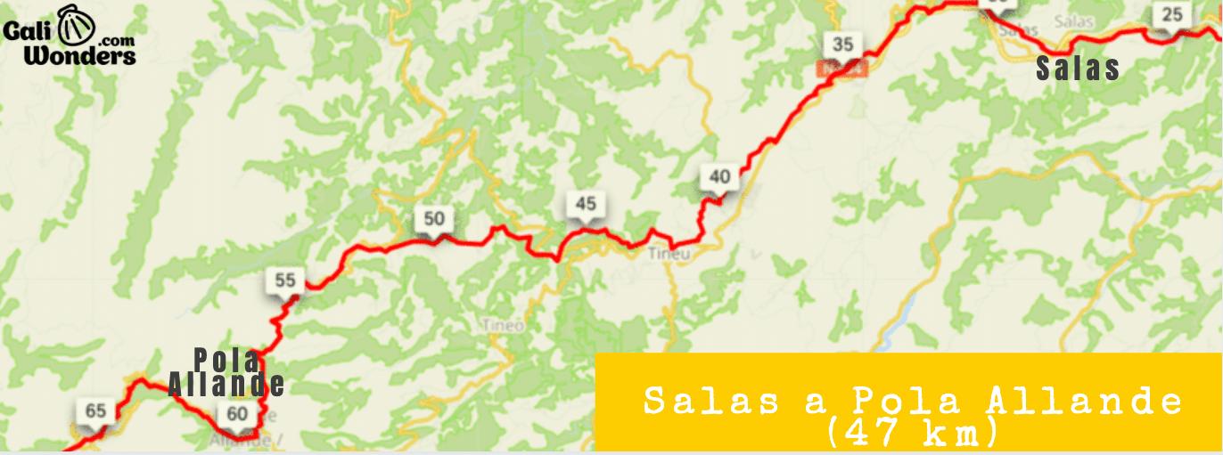 Mapa Salas a Pola Allande Camino de Santiago en bicicletapng