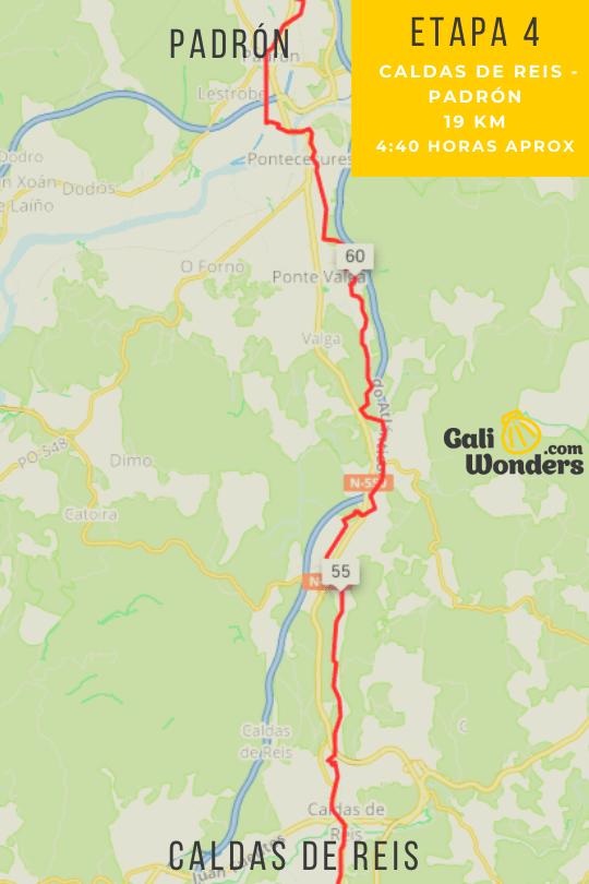 Mapa de Caldas de Reis a Padrón en el Camino Portugués de la Costa-min