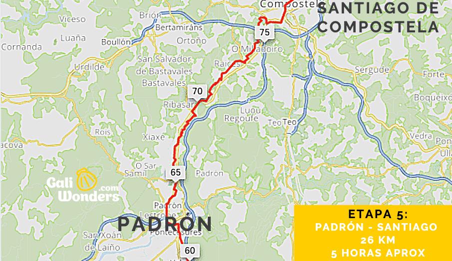 Mapa de Padrón a Santiago de Compostela Camino de Santiago