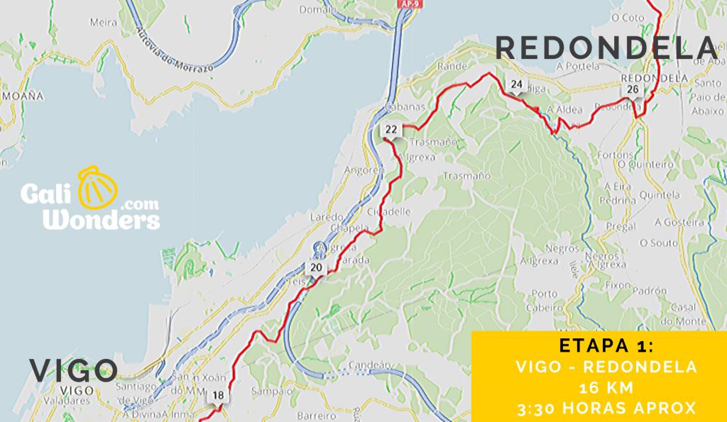 Mapa de Vigo a Redondela